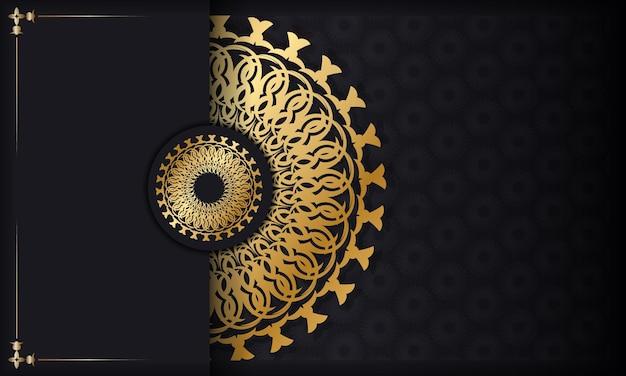 Sjabloon voor spandoek zwarte kleur met gouden vintage patroon. voor uw ontwerp