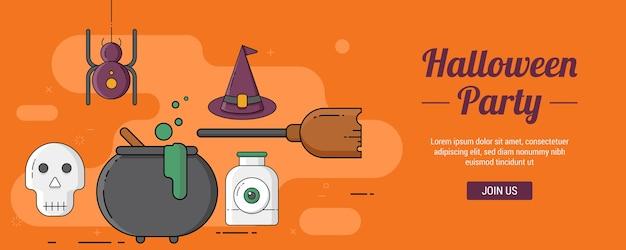 Sjabloon voor spandoeken met halloween-feest