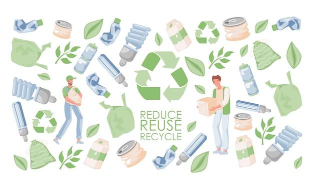 Sjabloon voor spandoeken verminderen, hergebruiken en recyclen. mannen met afval. milieuvriendelijk levensstijlconcept.