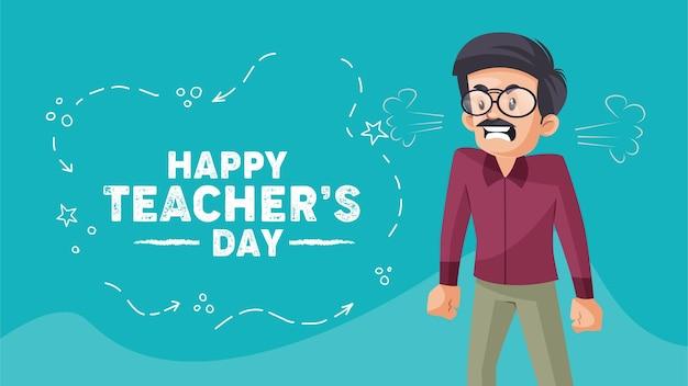 Sjabloon voor spandoekontwerp voor gelukkige lerarendag