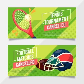 Sjabloon voor sportevenement geannuleerde banners