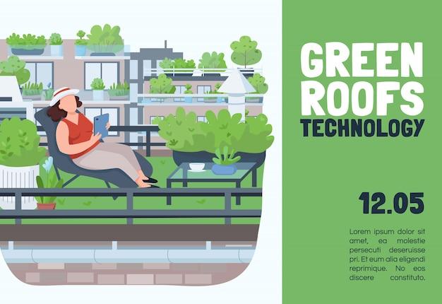 Sjabloon voor stadslandbouw. brochure, poster concept met stripfiguren. stadsarchitectuur, landbouw, tuinieren horizontale flyer, folder met plaats voor tekst