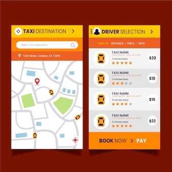 Sjabloon voor taxi app-interface