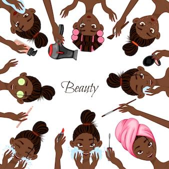 Sjabloon voor tekst met zwarte vrouwelijke personages en cosmetische producten. cartoon-stijl. vector illustratie.
