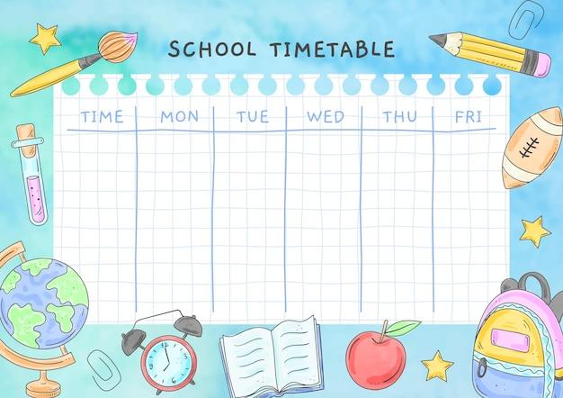 Sjabloon voor tijdschema voor aquarel terug naar school