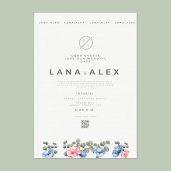 Sjabloon voor trouwkaarten in bloemenstijl