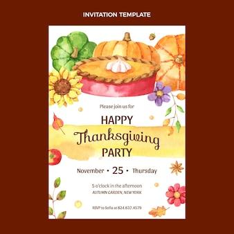 Sjabloon voor uitnodiging voor aquarel thanksgiving