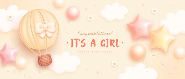 Sjabloon voor uitnodiging voor babyshower voor meisjes Premium Vector