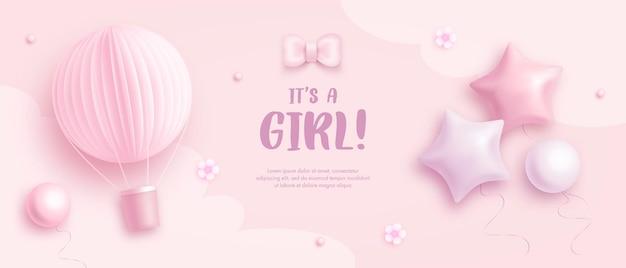 Sjabloon voor uitnodiging voor babyshower voor meisjes