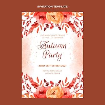 Sjabloon voor uitnodiging voor een aquarel herfstfeest