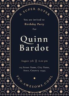 Sjabloon voor uitnodiging voor verjaardagsfeestje met gouden art-decostijl