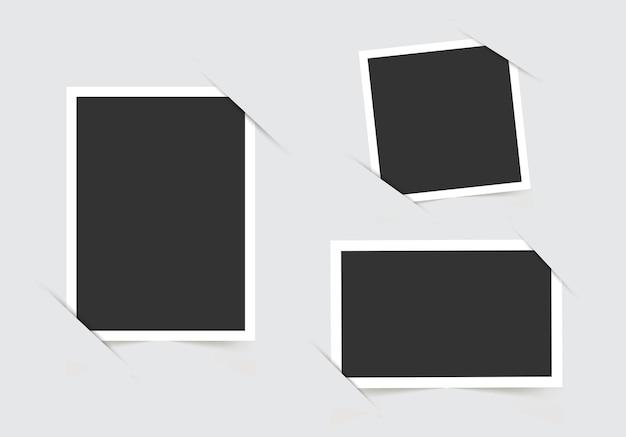 Sjabloon voor uw foto's geïsoleerd op een grijze achtergrond