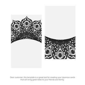 Sjabloon voor vector visitekaartjes met griekse sieraad. sjabloon voor het afdrukken van ontwerp visitekaartjes witte kleur met zwarte vintage patronen.