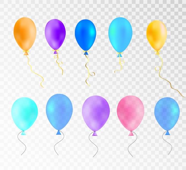 Sjabloon voor veelkleurige ballonnen voor groetillustraties