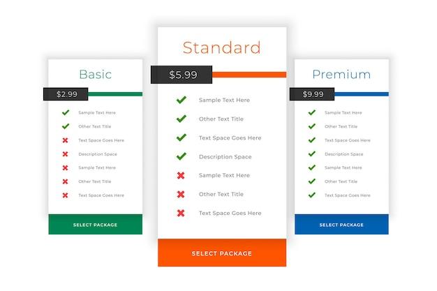 Sjabloon voor vergelijkingsboxen voor webprijzen