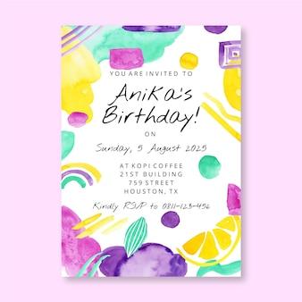 Sjabloon voor verjaardagsuitnodiging met aquarel abstracte vormen