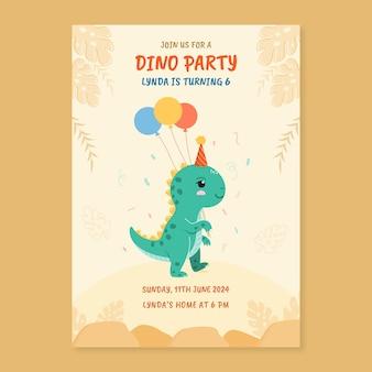 Sjabloon voor verjaardagsuitnodiging met dinosaurus