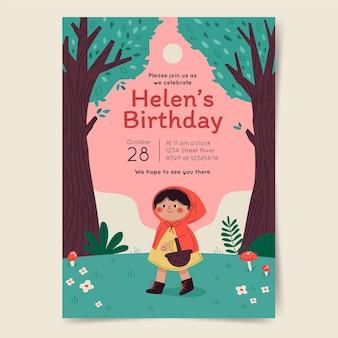 Sjabloon voor verjaardagsuitnodiging van roodkapje