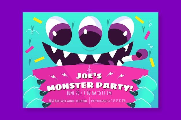 Sjabloon voor verjaardagsuitnodiging voor cartoon monsters