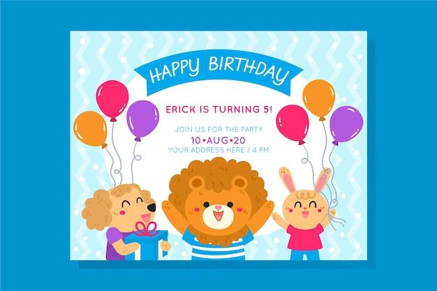 Sjabloon voor verjaardagsuitnodiging voor kinderen