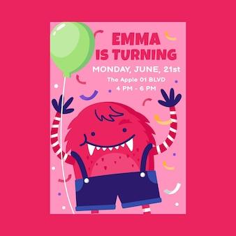 Sjabloon voor verjaardagsuitnodiging voor platte monsters