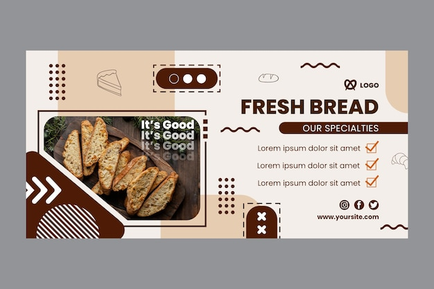 Sjabloon voor vers brood horizontale spandoek