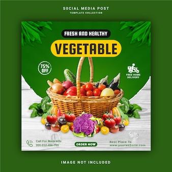 Sjabloon voor verse en gezonde groenten voor sociale media