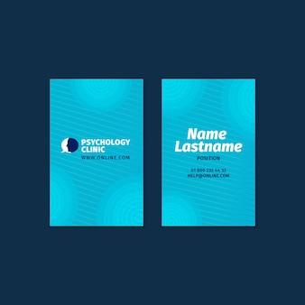 Sjabloon voor verticale dubbelzijdige visitekaartjes voor psychologietherapie