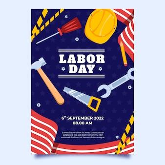 Sjabloon voor verticale flyer van de dag van de arbeid