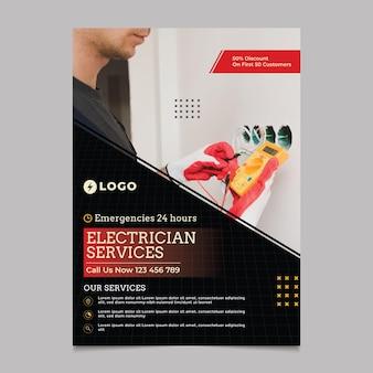 Sjabloon voor verticale flyer voor elektricien service