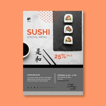 Sjabloon voor verticale folder van japans restaurant