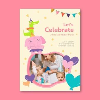 Sjabloon voor verticale kinderverjaardag