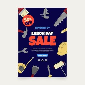 Sjabloon voor verticale posterverkoop voor dag van de arbeid