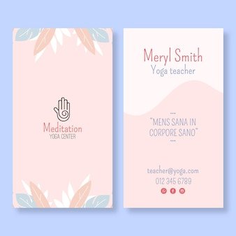 Sjabloon voor verticale visitekaartjes voor meditatie en mindfulness