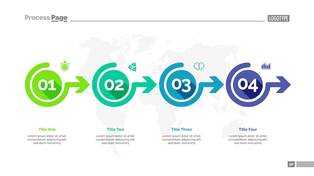 Sjabloon voor vier opties workflow-dia's