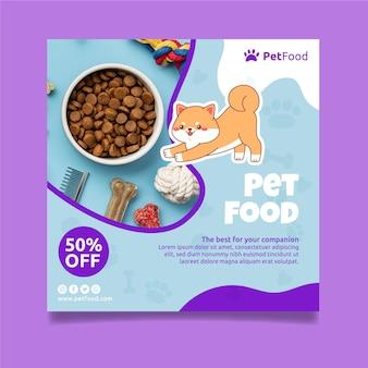 Sjabloon voor vierkante flyer voor diervoeding