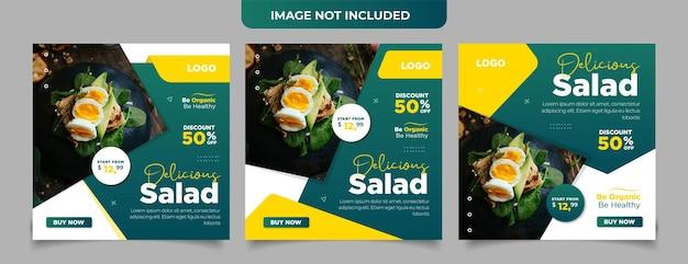 Sjabloon voor vierkante flyer voor gezonde voeding