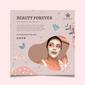 Sjabloon voor vierkante flyer voor schoonheidssalon