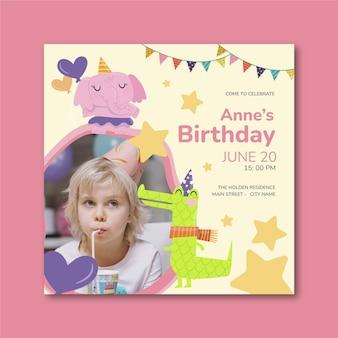 Sjabloon voor vierkante kinderverjaardag