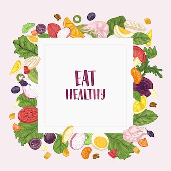 Sjabloon voor vierkante spandoek met eat healthy-slogan en frame gemaakt van gehakte salade-ingrediënten - groenten, fruit, kip, garnalen, eieren. verse gezonde dieetvoeding. hand getekend vectorillustratie.