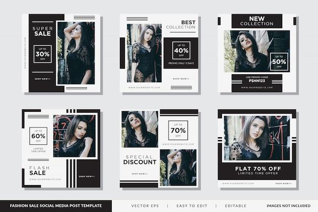 Sjabloon voor vierkante spandoek of flyer voor modewinkels