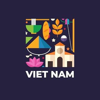 Sjabloon voor vietnam-logo voor reizen naar het buitenland