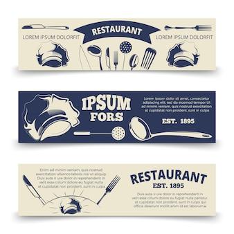 Sjabloon voor vintage restaurant horizontale banners