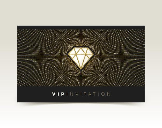 Sjabloon voor vip-uitnodiging met glanzende diamant.