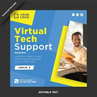 Sjabloon voor virtuele technische ondersteuning voor instagram en sociale media