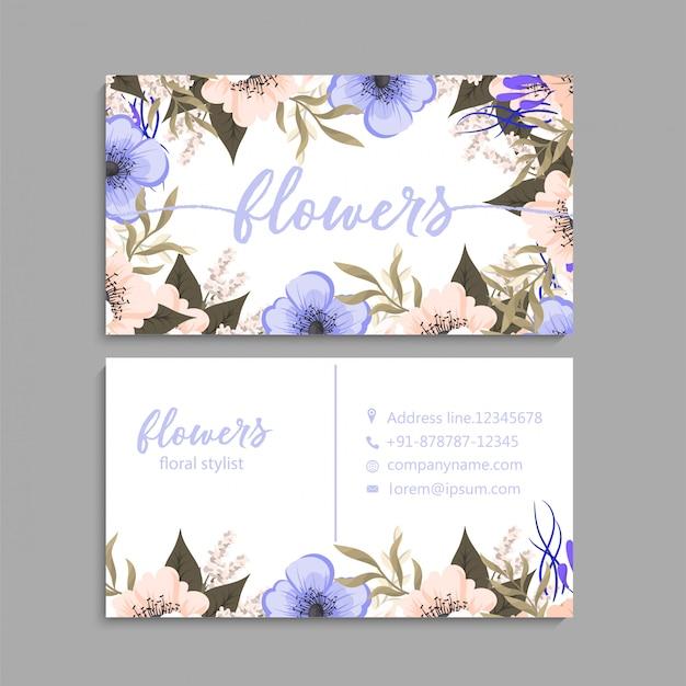 Sjabloon voor visitekaartjes, achtergrond bloemmotief
