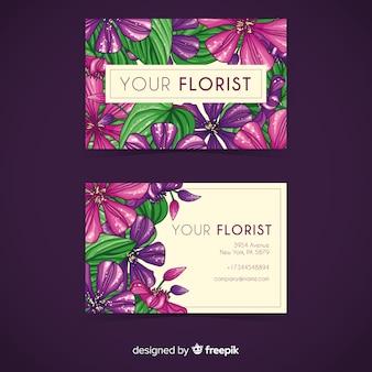 Sjabloon voor visitekaartjes aquarel bloemen