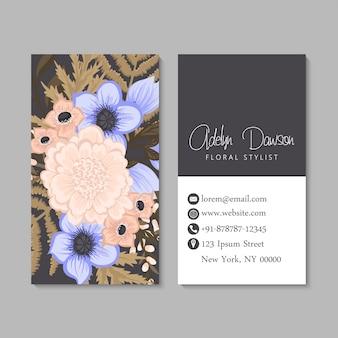 Sjabloon voor visitekaartjes bloemen