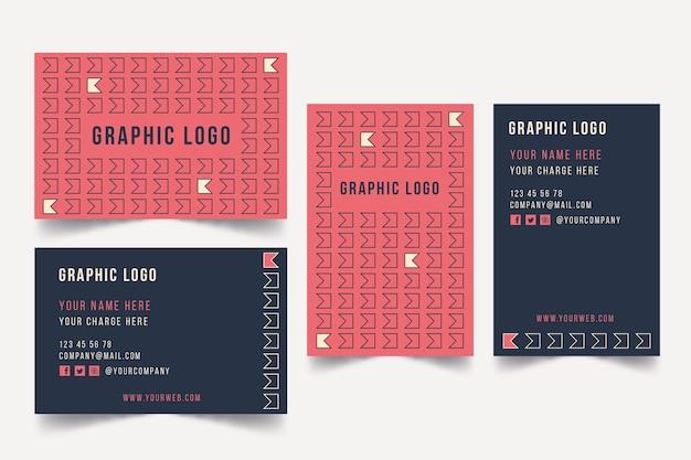 Sjabloon voor visitekaartjes grafisch ontwerper met leuke vormen