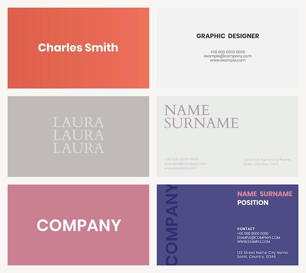 Sjabloon voor visitekaartjes in kleurrijke toon flatlay